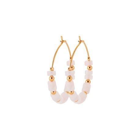 Créoles en plaqué or avec petites pierres en Quartz rose véritable pas chère obrillant-bijoux