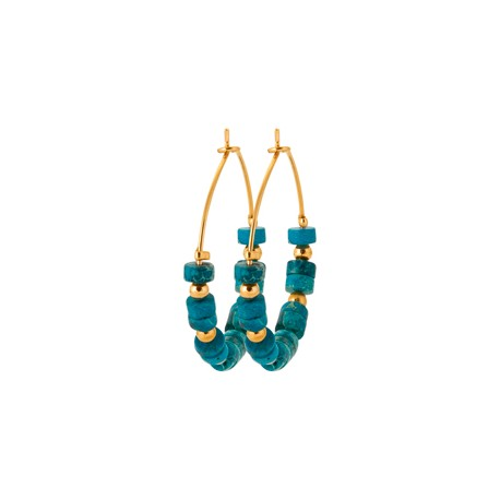 Créoles en plaqué or avec petites pierres en Jaspe bleu véritable pas chère obrillant-bijoux