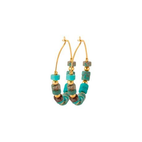 Créoles en plaqué or avec petites pierres en Jaspe bleu vert véritable pas chère obrillant-bijoux