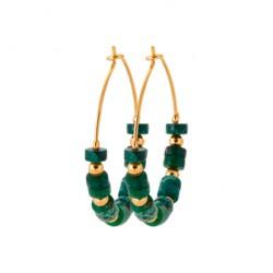 Créoles en plaqué or avec petites pierres en Jaspe vert véritable