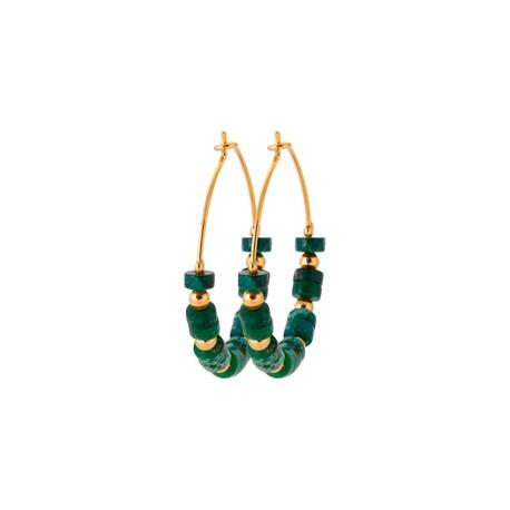 Créoles en plaqué or avec petites pierres en Jaspe vert véritable pas chère obrillant-bijoux
