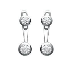 Boucles lobes d'oreilles en argent 925/000 rhodié pierres sertis clos zirconium blanc obrillant-bijoux