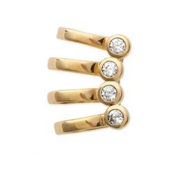 Boucles bague d'oreilles plaqué or pierres serties zirconium obrillant-bijoux