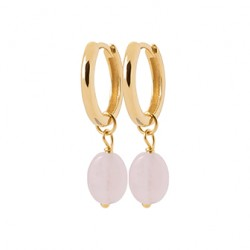 Créoles en plaqué or avec pierres en Quartz rose véritable pas chère obrillant-bijoux