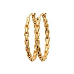 Créoles en plaqué or mailles chaines 25 mm pas chère obrillant-bijoux