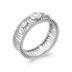 Bague argent 925/1000 rhodié monture dentelle pierres en zirconium pas chère Obrillant-bijoux