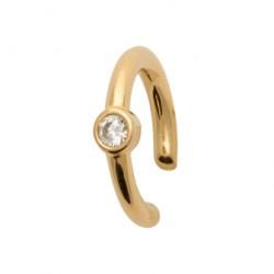 Bague d'oreilles plaqué or pierre sertie clos en oxyde de zirconium blanc pas chere  obrillant-bijoux