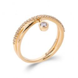 Bague plaqué or anneaux croisés pampille pavé en zirconium blanc pas chère Obrillant-bijoux