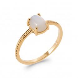 Bague plaqué or avec pierre cabochon ovale en pierre de lune pas chère Obrillant-bijoux
