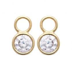 Pendentif charm's pour créoles en plaqué or pierre sertie clos en zirconium pas cher obrillant-bijoux