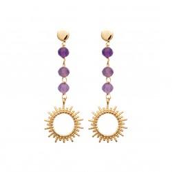 Boucles d'oreilles pendantes en plaqué or soleil avec pierres en Améthyste Obrillant-Bijoux