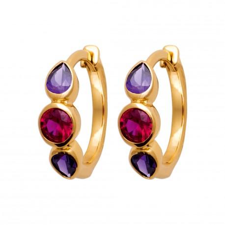 Créoles en plaqué or avec pierres serties en cristal violet et rose pas chère obrillant-bijoux
