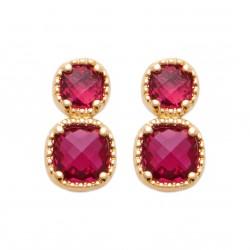 Boucles d'oreilles en plaqué or avec pierres à facettes en cristal rose pas chères obrillant-bijoux