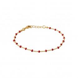 Bracelet en plaqué or fine maille perlées boules en émail rouge obrillant-bijoux